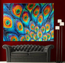 image is loading wall art canvas painting print fine peacock feathers  on colorful wall art canvas with wall art canvas painting print fine peacock feathers colorful home