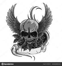 Lebka Symbol Tetování Design Koruny Vavřínový Věnec Křídla Růže