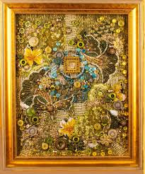 16 best Meditation Gardens -art quilts images on Pinterest ... & A framed contemporary art quilt embellished with buttons and beads based on  tapping into a person's energy field Adamdwight.com