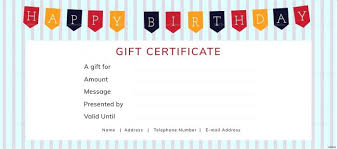 Anniversary Certificate Template Beauteous Sample Birthday Gift Certificate Template Inspiration Happy Birthday