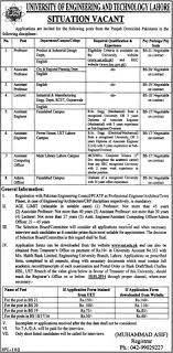 presenting the announcement of latest government jobs in  university of engineering and technology lahore jobs 2014