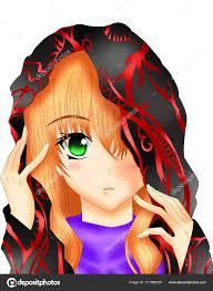 female character animated female blonde hair green eyes stock photo
