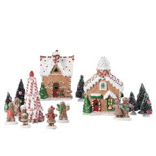 Gingerbread Kitchen Curtains Holiday Time 15 Pc Gingerbread Village Set Walmartcom