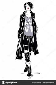 The Fashion Girl In Sketch Style Stock Vector Verlen4418 169864540