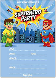 superheroes birthday party invitations amazon com 30 superhero birthday invitations with envelopes 30