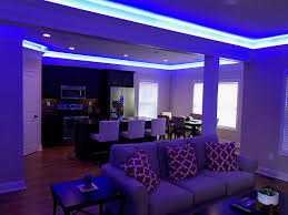 blue smart lights in kitchen and living room