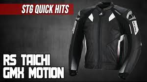 stg quick hits rs taichi gmx motion leather jacket from sportbiketrackgear com