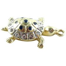 14k yellow and white gold turtle tortoise charm pendant sapphires and czs