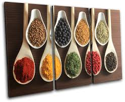 multi color on kitchen canvas wall art uk with spices indian food kitchen treble canvas wall art picture print va