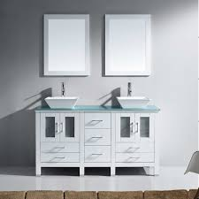 latitude run millett 60 double bathroom vanity set with tempered glass top and mirror reviews wayfair