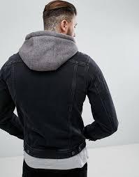 asos denim jacket with jersey hood in black l16v7 for men