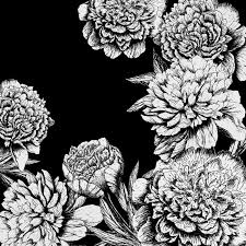 flowers in black and white bath mat by magic dreams 974254929328