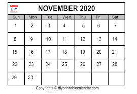 November 2020 Printable Calendar Template