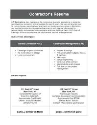 General Contractor Resume Sample Contractor Resume Sample