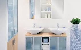 Tender pastel blue color and white bathroom design, perfect for small spaces