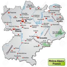 Rhone Size Chart Map Of Rhone Alpes As An Overview Map In Gray