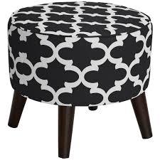 black round ottoman. Modren Black Skyline Furniture Fynn Blackwhite Round Ottoman With Splayed Legs Intended Black T