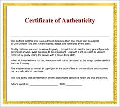 Certificate Of Authenticity Template Impressive 48 Certificate Of Authenticity Samples Sample Templates