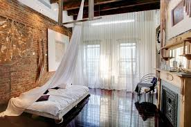 Sheer Bedroom Curtains Industrial Loft Style Bedroom Design With High Ceiling And Wooden