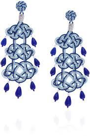 beaded earrings anna e alex blue passeterie chandelier earrings