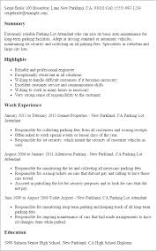 Resume Templates: Parking Lot Attendant