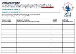 sponsorship forms for fundraising raise sail fundraising ideas from ocean youth trust south