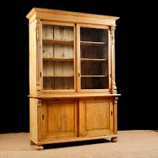 antique bookcase in pine with glass doors c 1890
