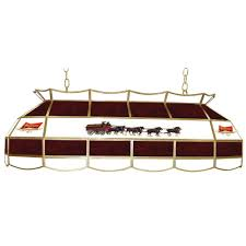 Home Depot Pool Table Lights Trademark Global Budweiser Clydesdale 3 Light Stained Glass Hanging Tiffany Lamp