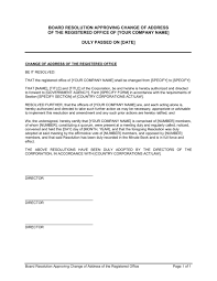 Board Resolution Approving Change Of Address Of Registered Office