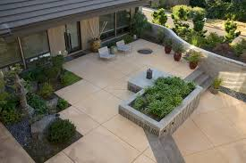 modern concrete patio. Modern Concrete Paving Patio Contemporary With Container Plants Potted Deck Furniture
