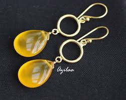 canary yellow gemstone gold plated silver earrings