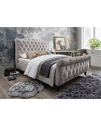 tufted upholstered sleigh bed.  Upholstered Furniture World Monet Upholstered Sleigh Bed With Tufted Headboard And  Footboard King Cream Inside Better Homes Gardens