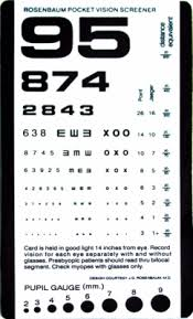 Snellen Chart Dimensions Pocket Size Plastic Eye Chart 1243 1
