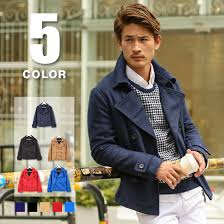 all five colors navy black camel red blue of pea coat men fashion show toss rim p coat ギャブジョージ