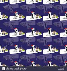 Cute Winter Pattern Background With Snowmen Penguins With