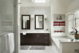 modern master bathrooms. example of a transitional white tile bathroom design in new york with shaker cabinets, dark modern master bathrooms