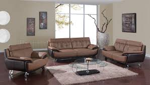 tan brown two tone bonded leather modern sofa loveseat set
