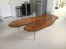 ... Coffee Table, Remarkable Brown Rectangle Oval Retro Wood Slab Coffee  Table Design Ideas For Living ...