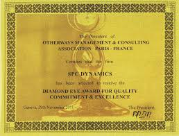 dynamics spc rewarding in the field of quality management tqm  dynamics spc diploma of the award receiving diamond eye award for quality commitment excellence tqm