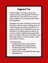 Anne Frank Holocaust Abc Book Project Based Learning Assessment