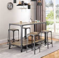 Multipurpose Industrial Kitchen Island In Rustic Light Brown And