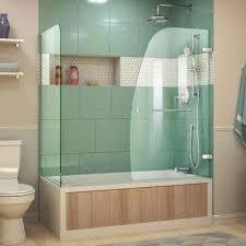 semi frameless hinged tub door with