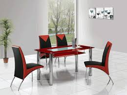 modern red and metal dining table white floor tile plain white wall painting red and black dining chairs with metal legs