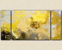 Abstract art print triptych oversize canvas print, in yellow, gray and  white,