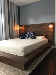 Floating Wood Platform Bed frame with Lighted Headboard-Quilmes