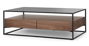 jaxta coffee table walnut and smoked glass coffee tables tables made com