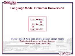 Language Model Grammar Conversion Wesley Holland, Julie Baca, Dhruva  Duncan, Joseph Picone Center for Advanced Vehicular Systems Mississippi  State University. - ppt download