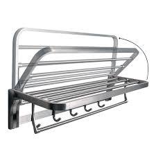 alise towel rack folding bathroom shelf with swing towel bar and 5 hooks heavy duty sus304