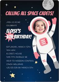 Space Party Invitation Pink Astronaut Photo Birthday Party Invitation