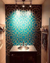 wallpaper accent wall bathroom